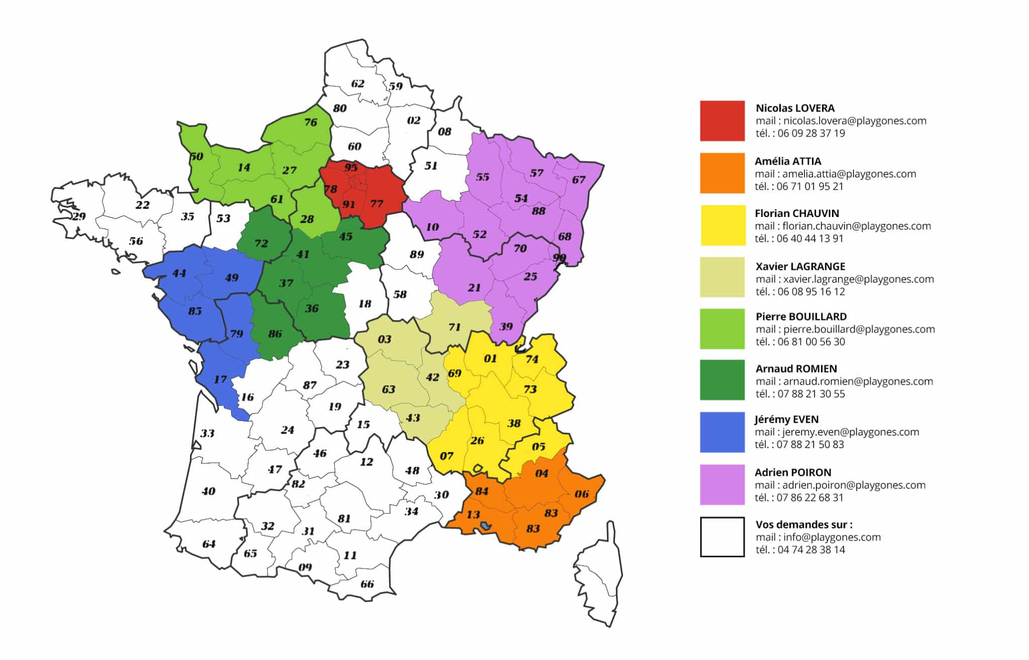 carte des commerciaux créateurs d'espaces sportifs et d'aires de jeux