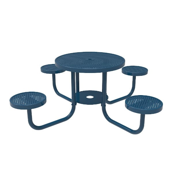 round patio table with attached seats
