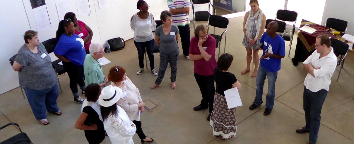 Participants in discussion during Strategic Narrative Embodiment workshop