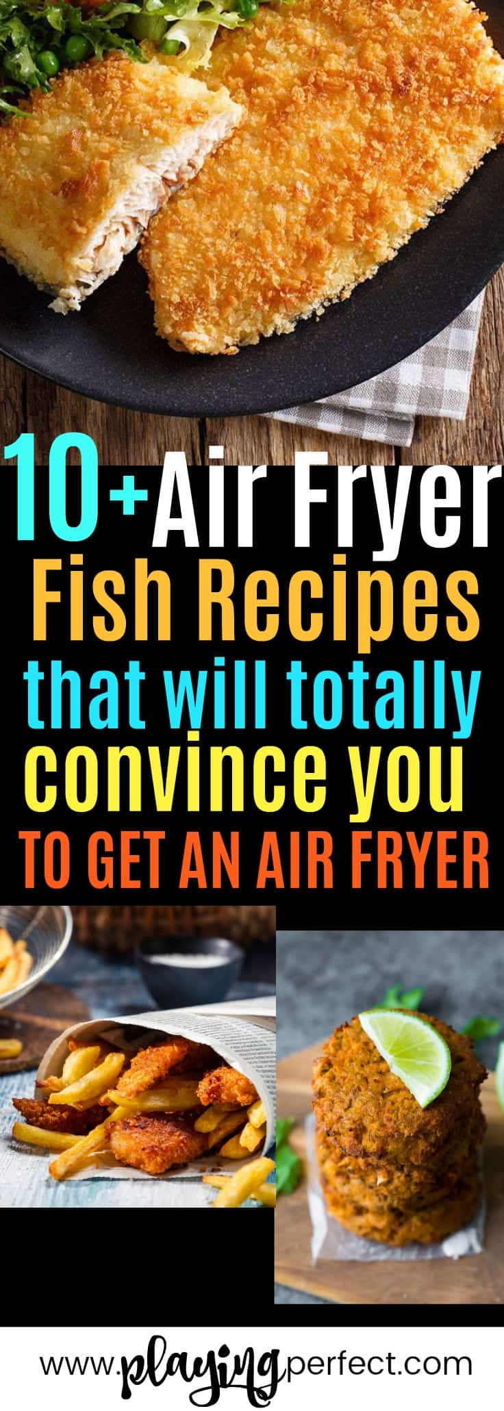 Air fryer fish recipes! If you're looking for some healthy air fryer recipes, you're going to love these easy air fryer recipes! Click over to see the best fish air fryer recipes that will be the best air fryer recipes ever! FREE printable pack too! | playingperfect.com |