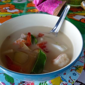 Coconut soup with seafood