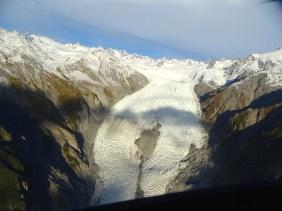 Le glacier Franz Josef depuis l'hélico