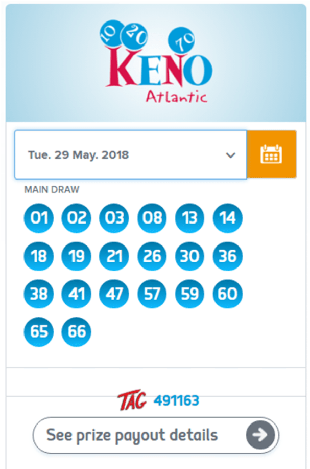 How to check Atlantic Keno Numbers