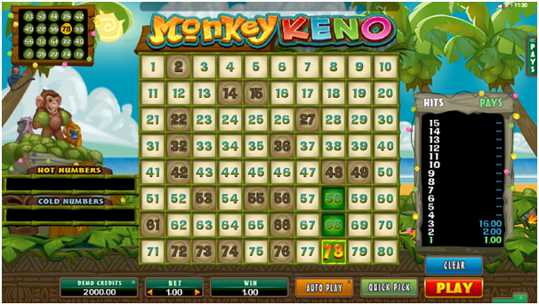 Keno game at online Canadian casinos-Monkey keno