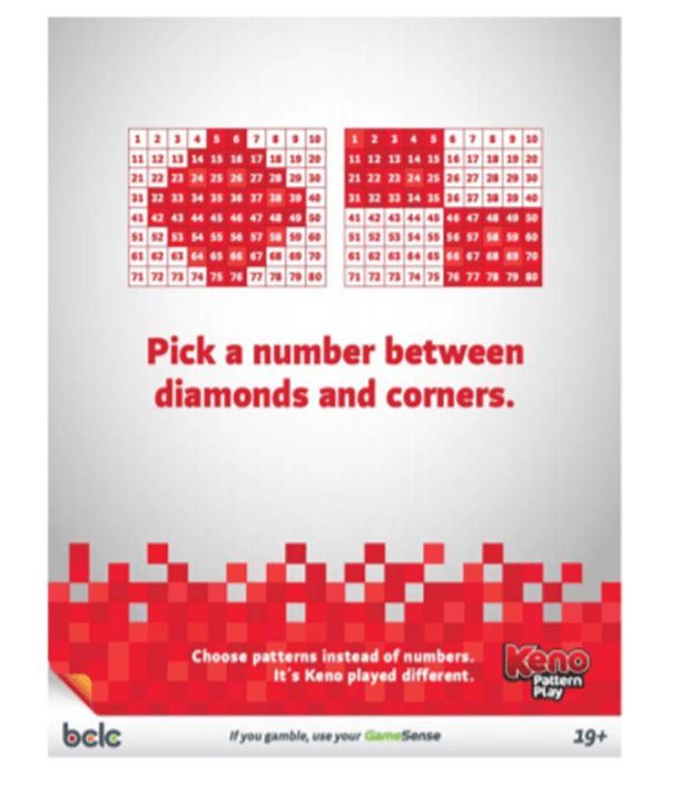 Keno pattern play Canadian lotteries