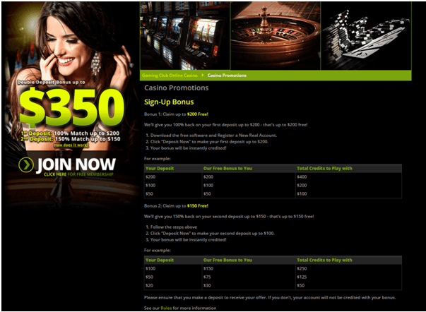 Gaming Club Bonus offer