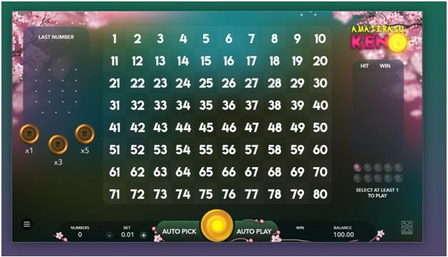 How to play Amaterasu Keno?