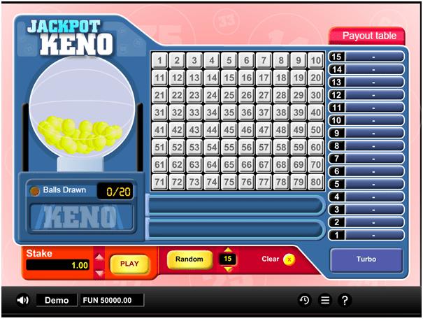 Jackpot Keno free game
