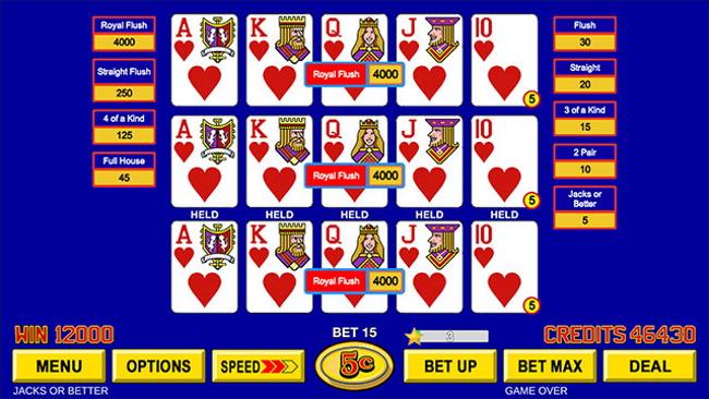 Video poker training software