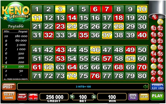 How to play Keno Universe at online casino