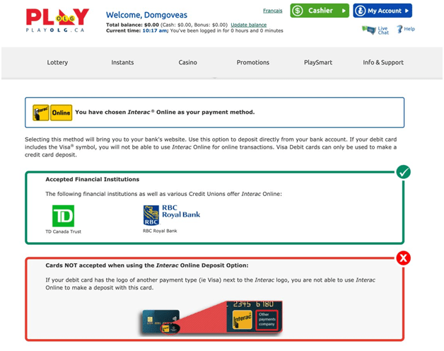 Play OLG Canada Deposit options to play keno