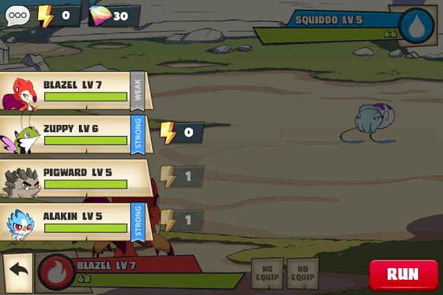 Mino Monsters Battle Screen