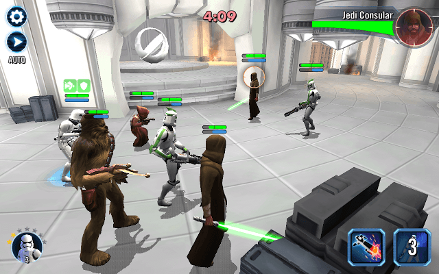 Star Wars Galaxy of Heroes Battle Screen