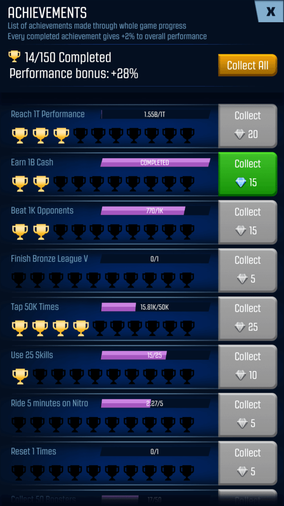 Finish achievements to get rewards