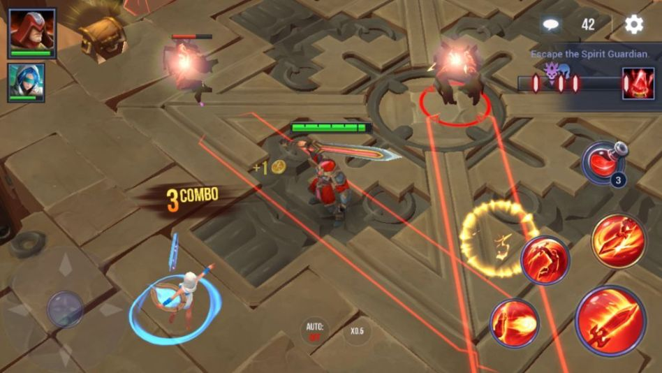 The enemy attack range is shown in red