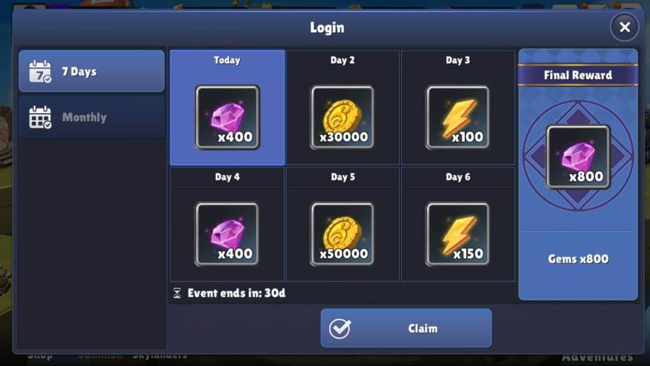 7 Day Gem Rewards in Skylanders Ring of Heroes