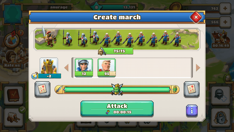 Check max units and the combat power bar in Create March