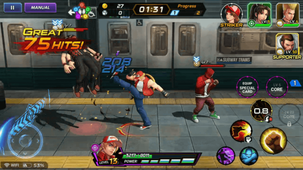 Fight multiple enemies in KOF All Stars