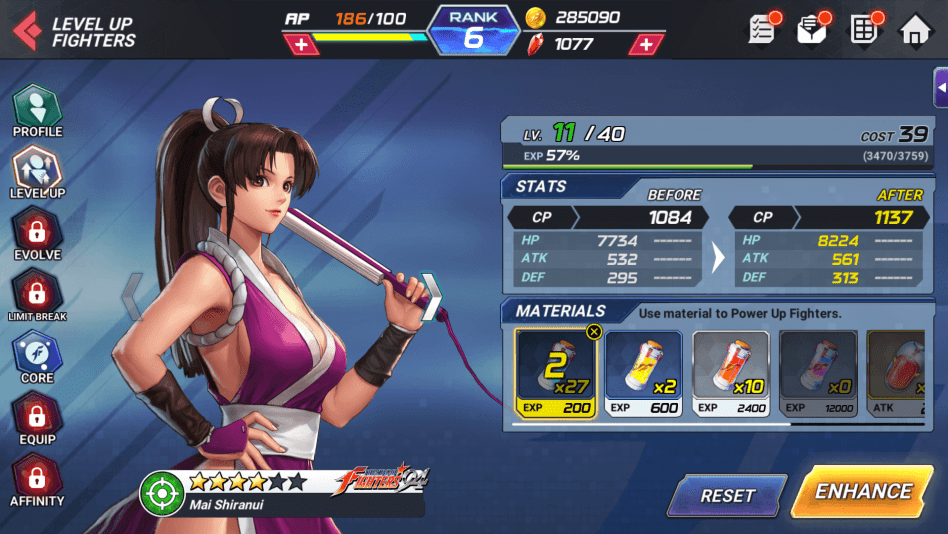 Level Up Fighters to Improve their Stats