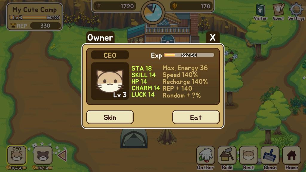 Tap the Eat Button to Feed a Cat and Recharge His Energy