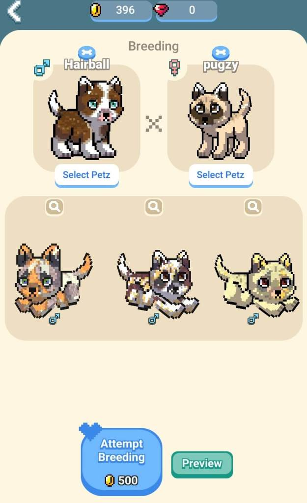Breeding pets in Pixel Petz