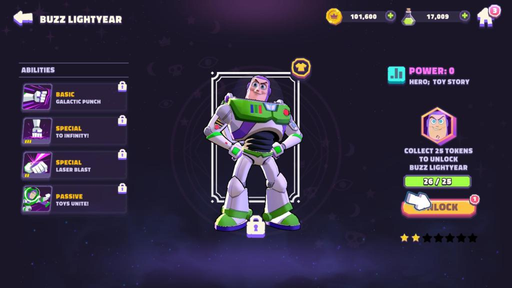Unlocking Buzz Lightyear - One of the playable characters in Disney Sorcerer's Arena.