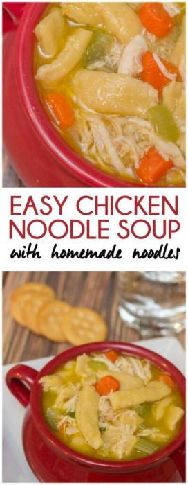 Easy chicken noodle soup with homemade egg noodles recipe from playpartyplan.com