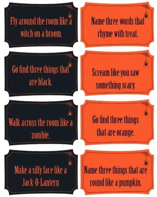 "Free printable Halloween ""tricks"" for a fun Halloween party game idea"