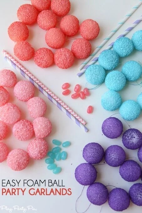 These DIY foam ball garlands are the perfect easy party decorations that can be made last-minute and in any color you want!