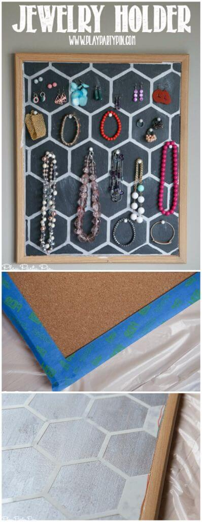 Easy DIY jewelry holder using a corkboard, stencils, and paint