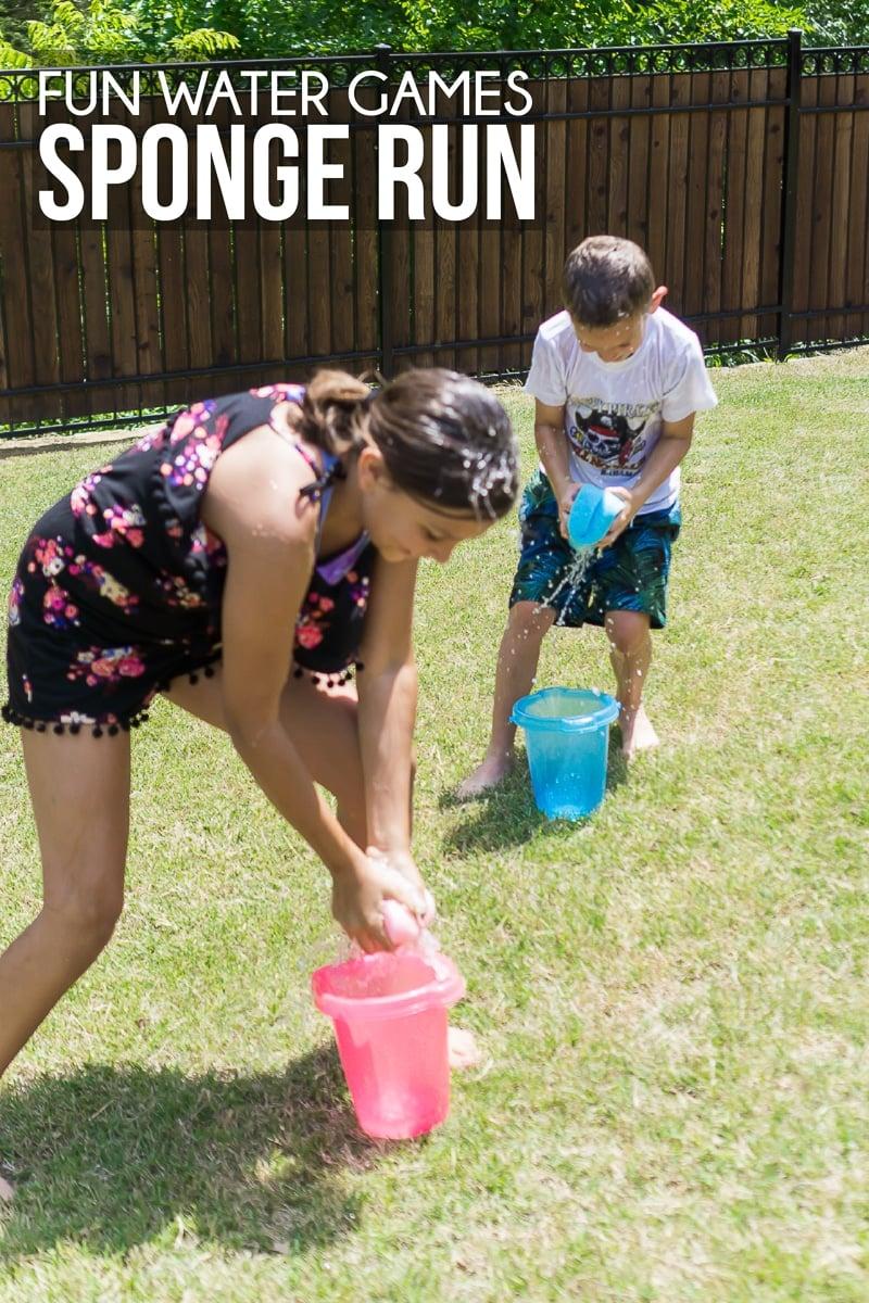 Kids getting wet in fun outdoor water games