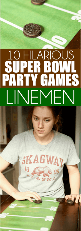 These easy Super Bowl party games are perfect for kids or for adults and they're quick enough that you could play during halftime. Divide everyone who plays into groups and play minute to win it style or head to head! Tons of great super bowl party game ideas!