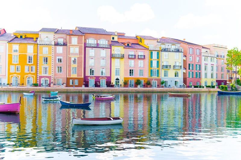 Enjoy a walk around the marina at Portofino Bay Hotel