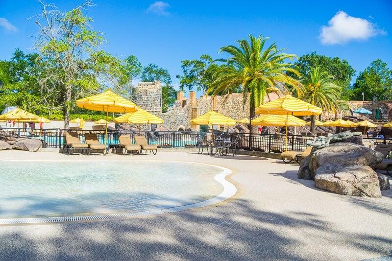There's plenty of shade and seating at Loews Portofino Bay Hotel