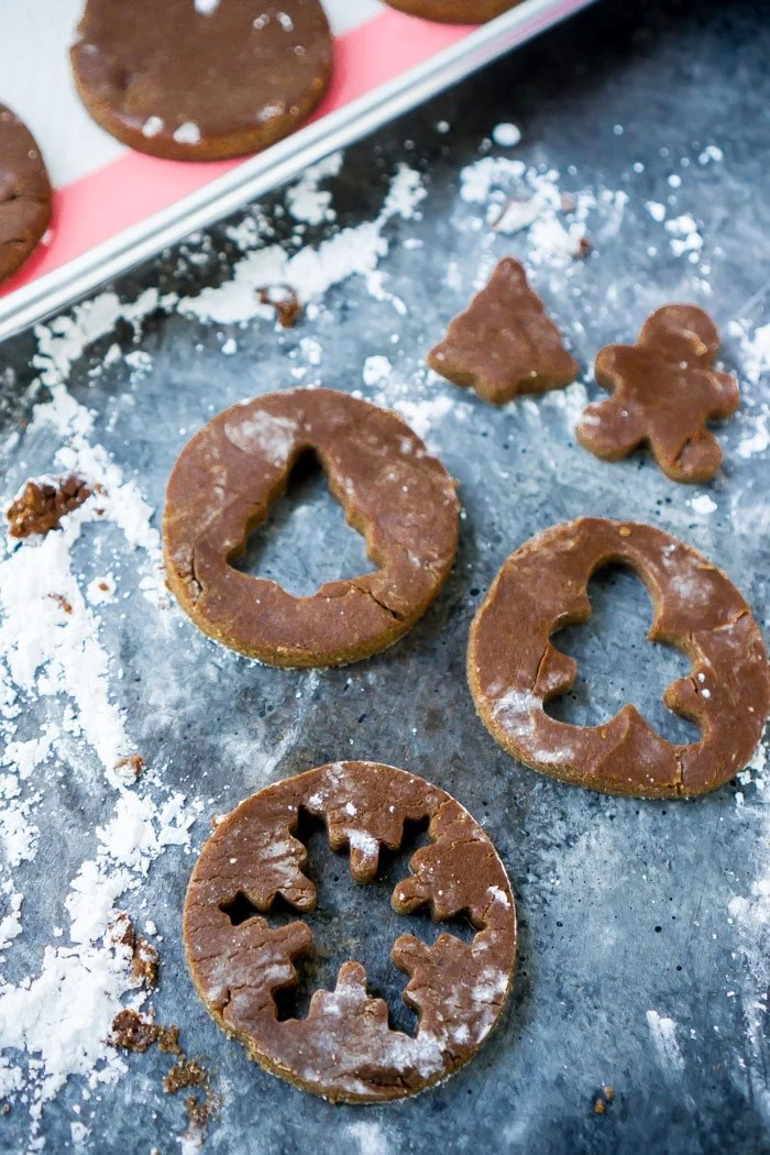 Use mini cookies cutters to make linzer cookies