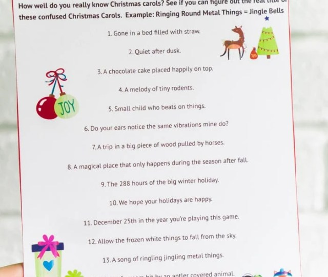 A Printable Christmas Song Christmas Party Game