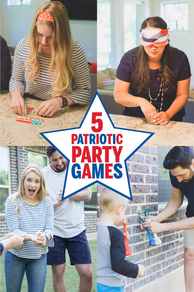 People playing different 4th of July party games