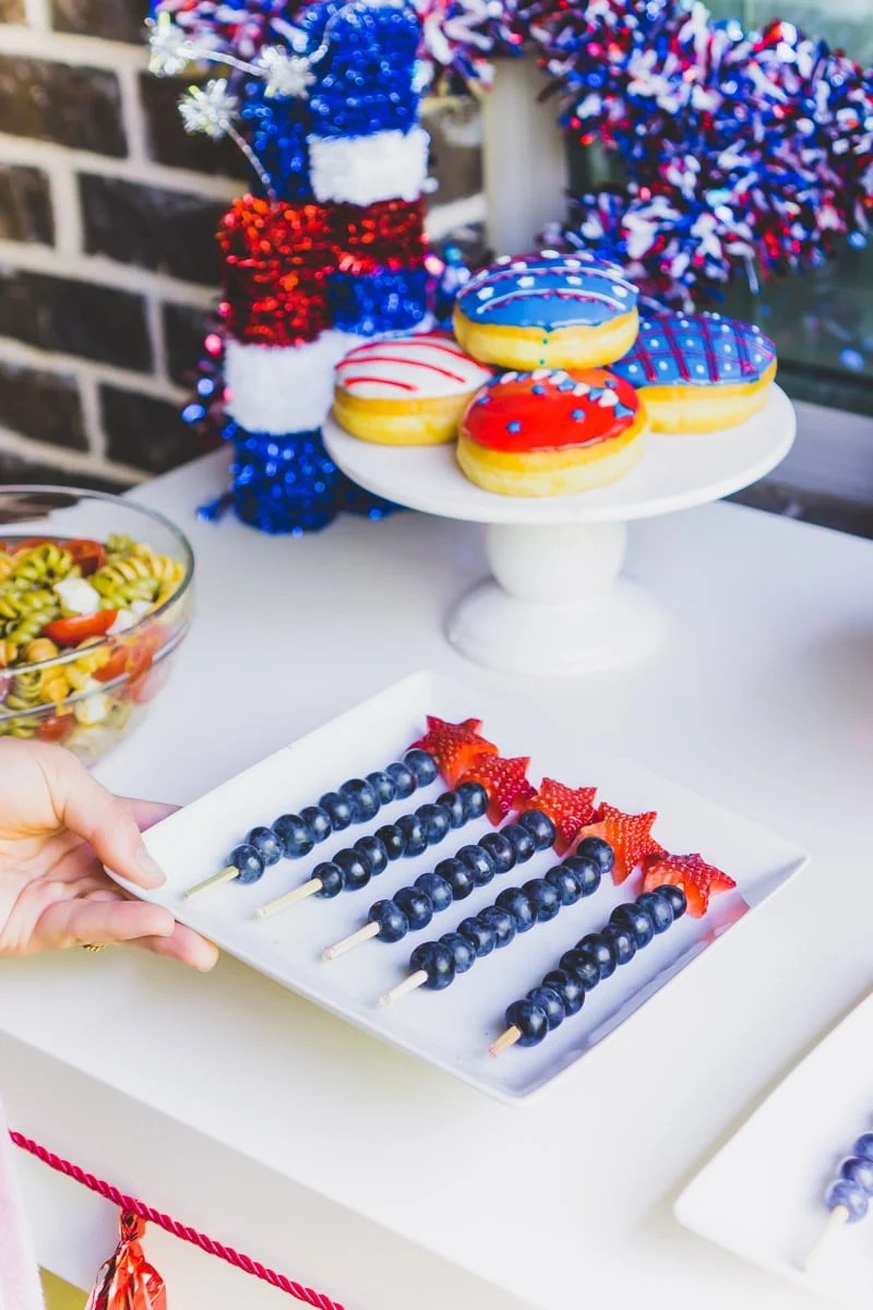 Easy 4th of July party ideas shown on a dessert table
