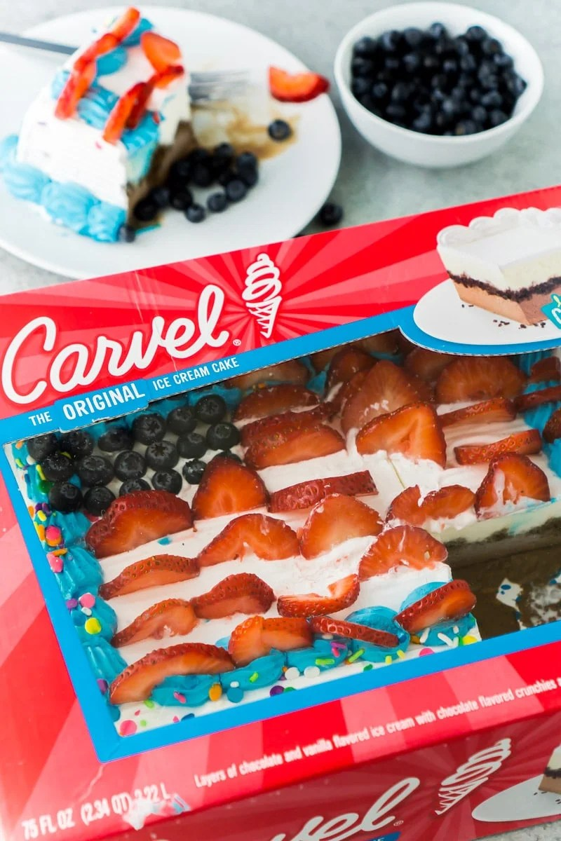 A Carvel ice cream cake in a box to be put back in the freezer