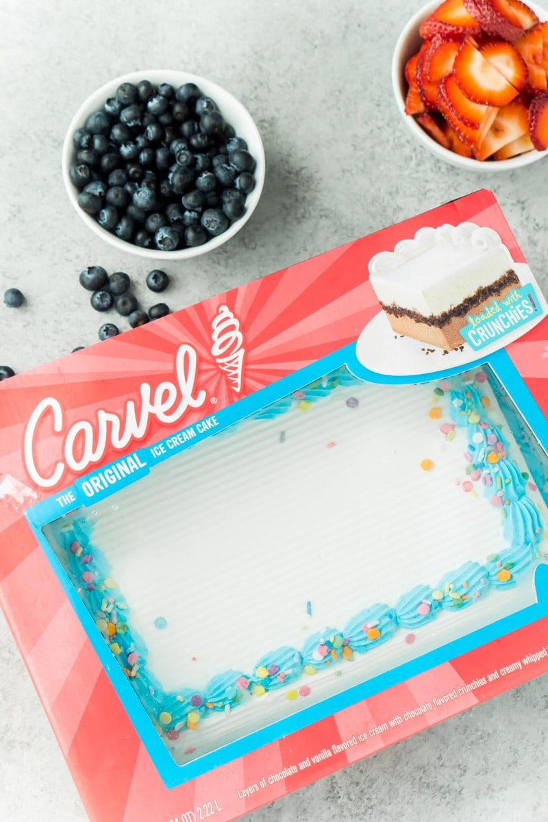 A store-bought Carvel ice cream cake and fruit