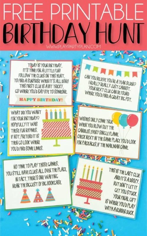 A Super Fun Birthday Scavenger Hunt Free Printable Play Party Plan