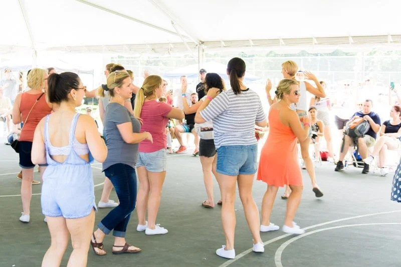 Women taking dancing lessons at the Lake Lure Dirty Dancing festival