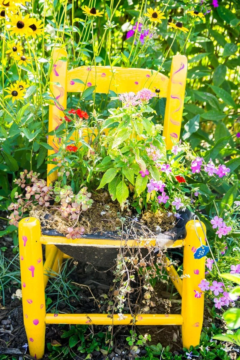 One of the chair displays on the Lake Lure flowering bridge