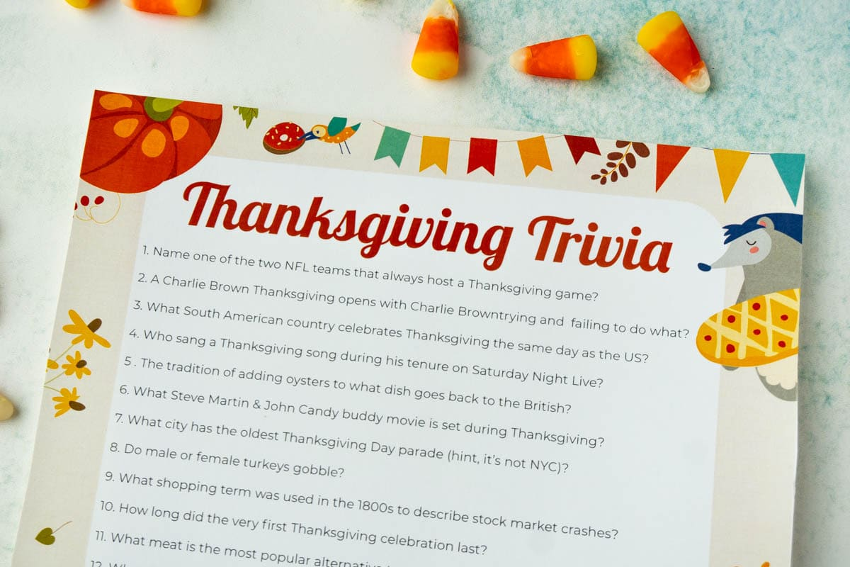 Free Printable Thanksgiving Trivia Questions