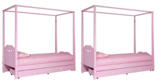 Updated Ashley Pink Four Poster Single Bed Frame 99 Argos