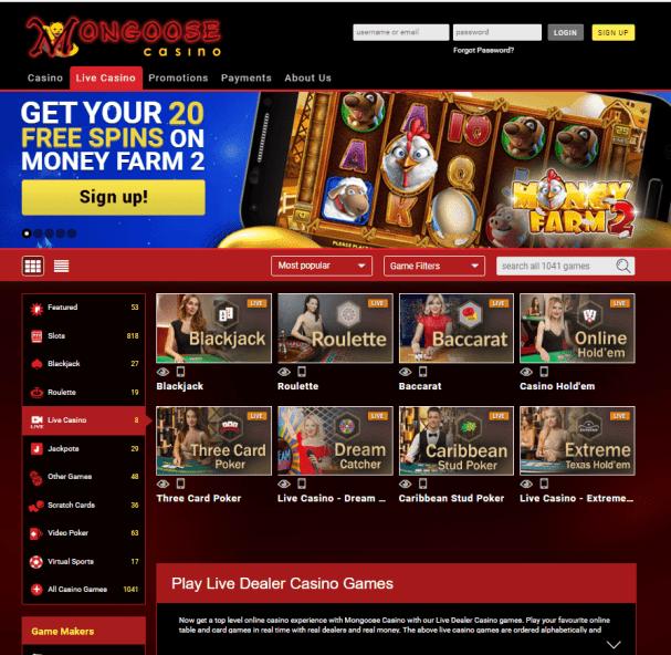 Mongoose casino AUD