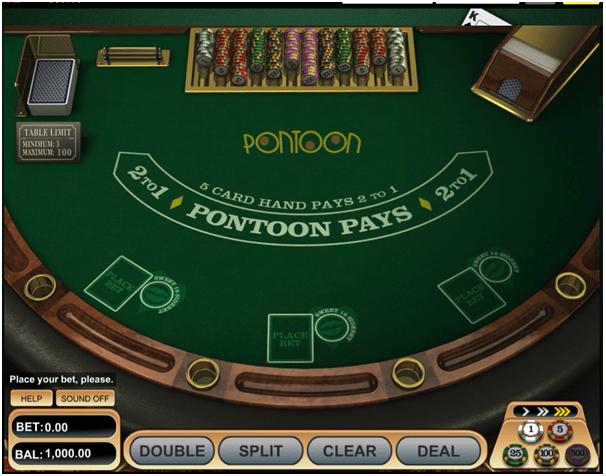 Pontoon game at Mongoose casino
