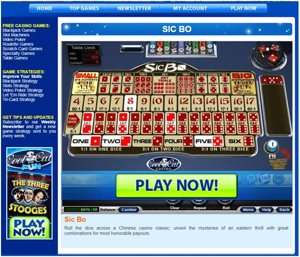 Cool cat fun casino- Play Sic Bo