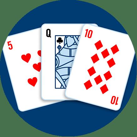 一張紅心5,一張黑桃Q和一張方塊10
