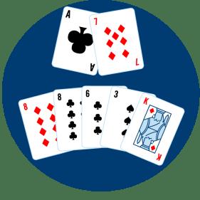 七張牌被分成兩張和五張,兩張牌在前面,五張牌在後面。